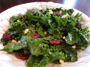 Raw Kale Salad with Cranberries and Pine Nuts