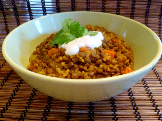 French Green Lentils with Onion, Garlic and Tumeric