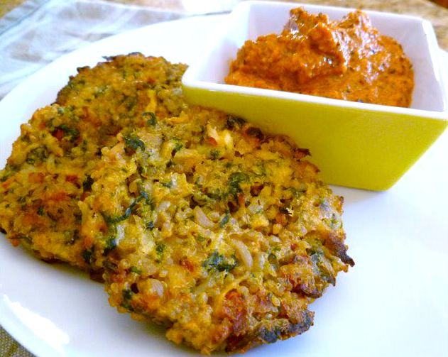 Quinoa potato cakes with roasted red pepper sauce vogue for Quinoa recipes indian