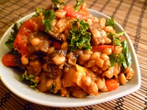winter farro with roasted mushrooms and squash