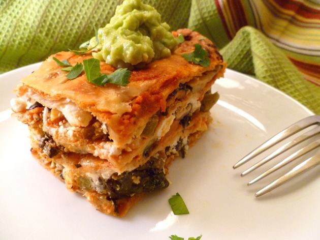 Roasted pepper and mushroom lasagna-angle green napkin