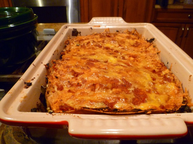 Roasted pepper and mushroom lasagna-completed