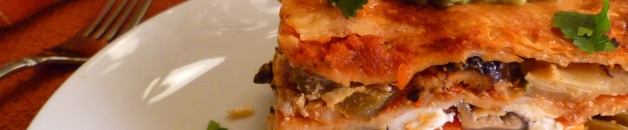 Roasted pepper and mushroom lasagna