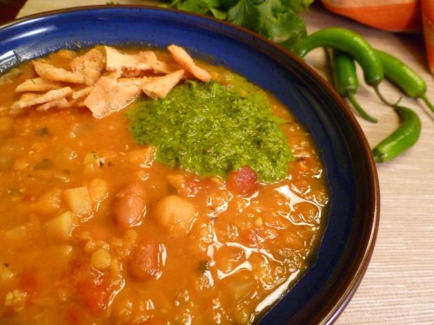Algerian mixed bean and lentil soup