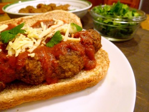 Meatball sub closeup
