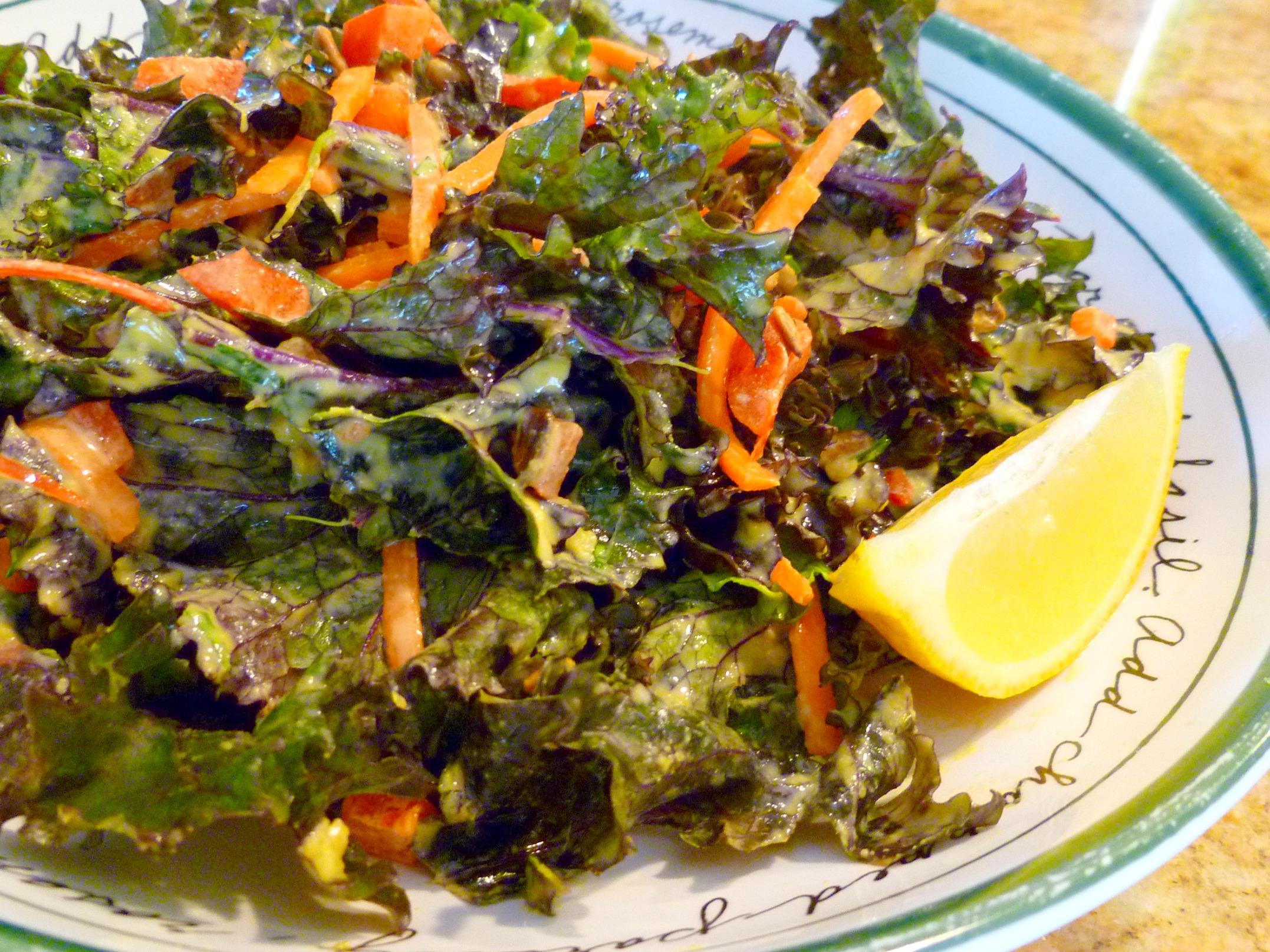 Raw Kale Salad with Lemon-Tahini Dressing (Vegan) | Vogue Vegetarian