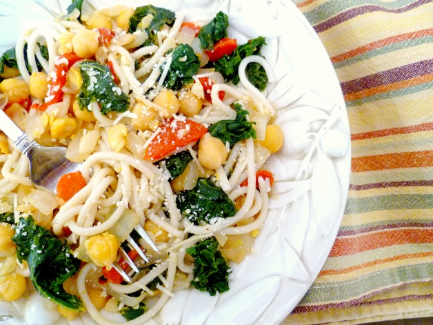 Chickpea, garlic and braised kale spaghetti-overhead