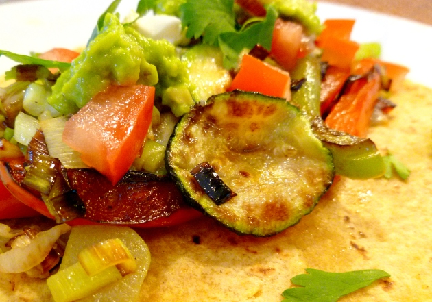 Roasted Vegetable Tacos-close up