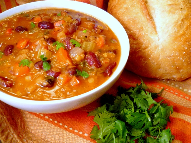 Mexican Red Lentil & Bean Soup